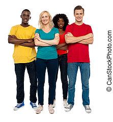 squadra, di, giovani persone, proposta, in, stile