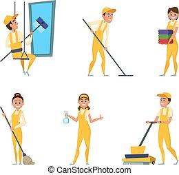 squadra, lavorante, di, pulizia, service., set, di, differente, caratteri, in, speciale, abbigliamento