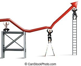 squadra, lavori in corso, a, migliorare, il, affari, profitto