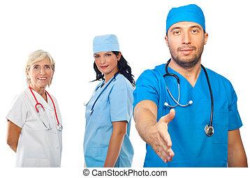 squadra medica, stretta di mano, persone