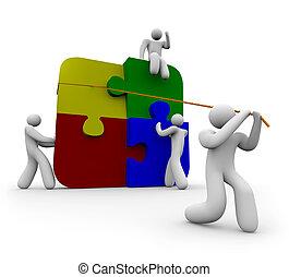 squadra, mettere, puzzle, insieme