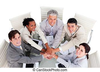 squadra, multi-etnico, affari, allegro, riunione