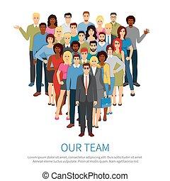 squadra, persone, professionale, appartamento, manifesto, folla