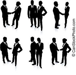 squadra, silhouette, collezione, affari