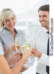 squadra, tostare, affari, champagne, ufficio