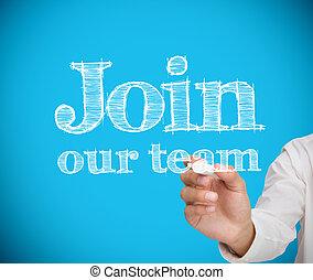 squadra, unire, scrittura, uomo affari, nostro, o