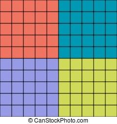 squadre, con, sfocato, profili di fodera, moderno, seamless, pattern., colorito, rettangoli, semplice, fondo., vettore