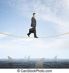 squali, concetto, rischio, sopra, uomo