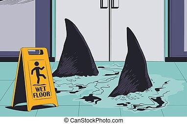 squali, illustration., segno., floor., avvertimento, bagnato, nuoto, casato