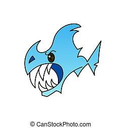 squalo, aperto, mouth., vettore, illustrazione