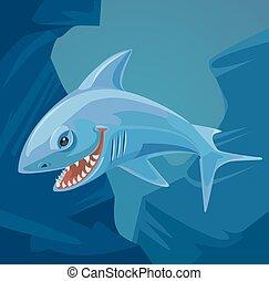 squalo, carattere, con, affilato, teeth., vettore, appartamento, cartone animato, illustrazione