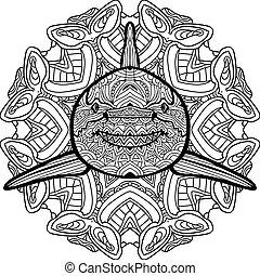 squalo, coloritura, book., mano, inchiostro, disegnato, antistress, predatore