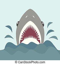 squalo, con, aperto, mascelle, e, affilato, teeth., vettore, illustrazione, in, appartamento, cartone animato, stile