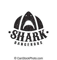 squalo, con, bocca aperta, e, teeth affilato, estate, surf, club, nero bianco, francobollo, con, pericoloso, animale, silhouette, sagoma