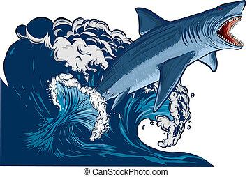 squalo, con, bocca aperta, in, il, sea., appartamento, vettore, illustrazione