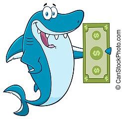 squalo, conto, dollaro, presa a terra, felice