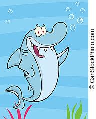 squalo, illustrazione, ondeggiare, felice