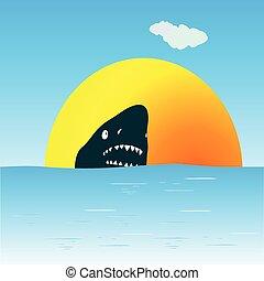 squalo, in, il, mare, nuoto, vettore