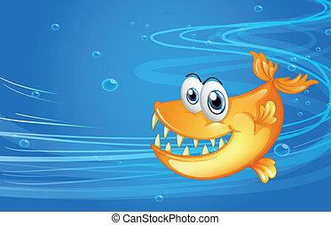squalo, mare, giallo