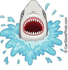 squalo, mascelle, isolato, fondo, bianco, aperto, cartone animato
