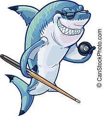 squalo, palla, stecca, stagno, cartone animato