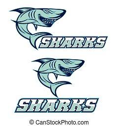 squalo, sport, aggressivo, cartone animato, squadra