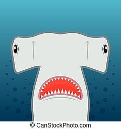 squalo stupido, con, bocca aperta