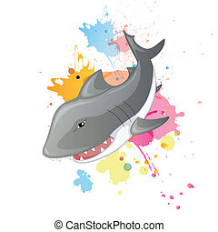 squalo, vettore, cartone animato