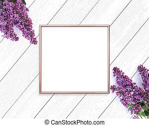 square., 金, mockup, 木制, 上升, 框架, 繪, 1x1, 背景。, 白色