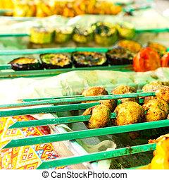 square., 食物, 串, 野菜, picnic., 伝統的である, うそ, グリルされた, テーブル。