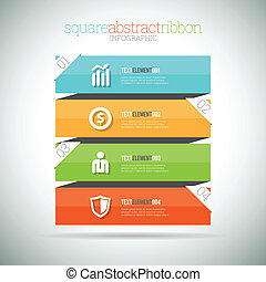Square Abstract Ribbon Infographic