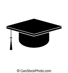 Square academic cap. Black vector icon.