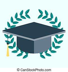 Square academic cap in laurel wreath. vector icon. laurel...