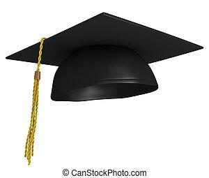 Square academic mortar board, or graduation cap, worn by...