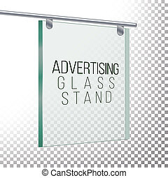 Square Advertising Glass Board. 3D Realistic Illustration....