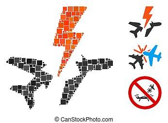 Square Aircraft Disaster Icon Vector Mosaic