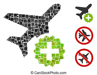 Square Airplane Addition Icon Vector Mosaic