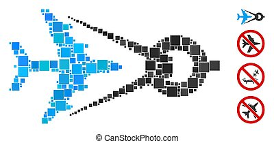 Square Airplane Project Icon Vector Collage