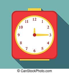 Square alarm clock icon, flat style