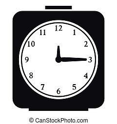 Square alarm clock icon, simple style