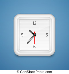 Square alarm clock icon - Square analog alarm clock. Vector...