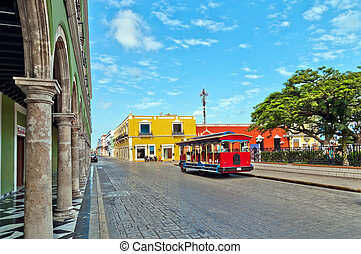 day view of main square and typical colonial buildings in Campeche, Mexico