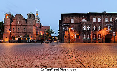 Square and houses in historic Nikiszowiec district in Katowice