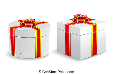 Square and round gift boxes isolated on white background.