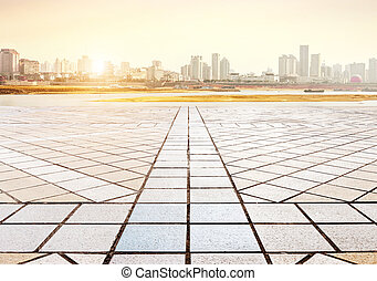 Square and towers - Empty floor and modern building with...