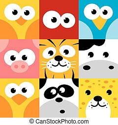 square animal face icon button set