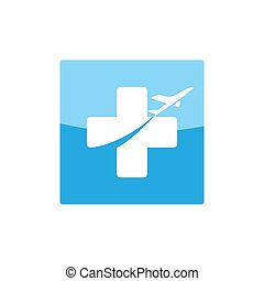 square app health travel icon with plane and cross illustration