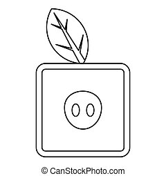 Square apple icon, outline style