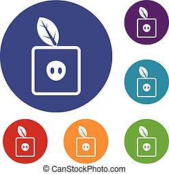 Square apple icons set