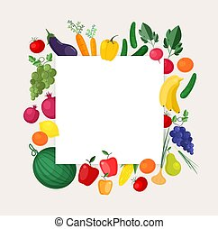 Square background or banner template with frame made of fresh organic locally grown fruits and vegetables. Colorful vector illustration for harvest festival, local farmer's market, fair advertisement.